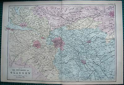 1892 Large Antique Map- Environs Of Glasgow