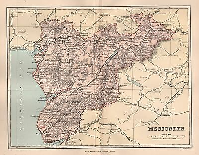1890 Antique Map Wales Merioneth Barmouth Harlech Dolgelly Pennal