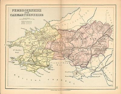 1877 Antique County Map- Pembrokeshire And Carmarthenshire,llanelly,haverfordwes