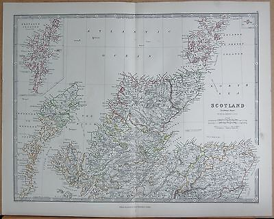 1874  Large Antique Map - Johnston- Scotland  Northern, Shetland Hebrides Orkney