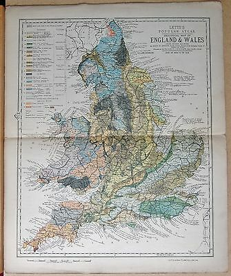 1883  Large Antique Map Geological Atlas Of England And Wales, Linen Backed