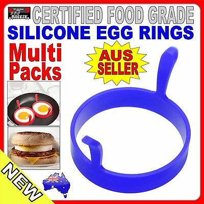 Blue EGG RINGS Silicone baking Kitchen pancake mould BBQ CAMPING frypan