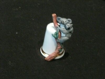 Collectable  English Bone China Thimble Koala & Baby