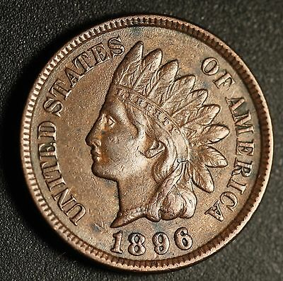 1896 INDIAN HEAD CENT -With LIBERTY & Near 4 DIAMONDS - AU UNC