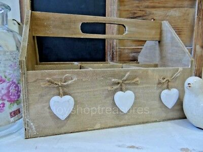 Vintage French Provincial Style TRUG -  Wooden Hearts - Planter – Herbs - Drinks