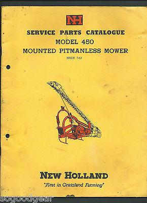New Holland Model 450 Mounted Pitmanless Mower Parts Catalogue 1963