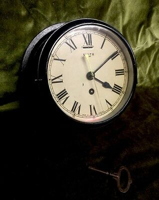 Vintage English Brass Smith 8 Day Ships Bulkhead Clock Antique Compass WW2