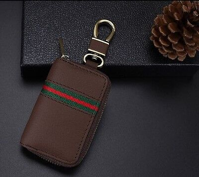 Leather Key Cover Case Holder Ring Chain Fob Brown !