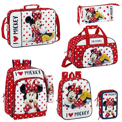Disney Minnie Mouse Polka Backpack Rucksack Travel Messenger School Lunch Bag