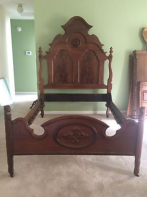 ANTIQUE VICTORIAN MAHOGANY BED, 1800's, FULL SIZE, ORNATE