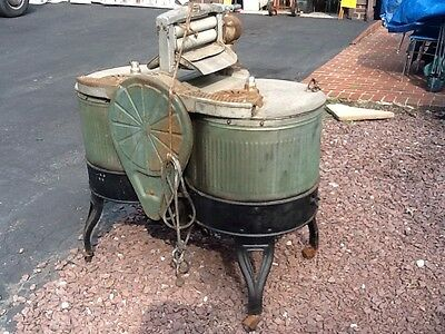 Antique Dexter Washing Machine -2 Stainless Steel Tubs W /Cast Metal Base - Good