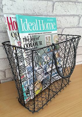 Magazine / Newpaper Storage Basket Vintage Industrial Style Metal Wire Holder