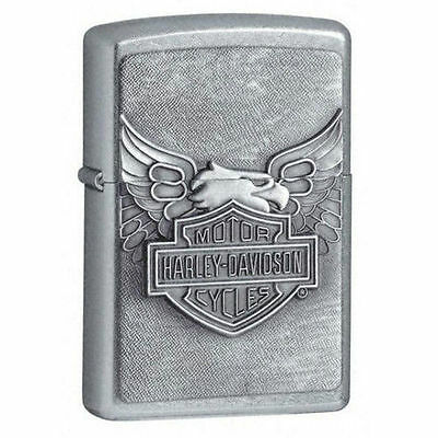 Zippo 20230, Harley Davidson, Emblem, Chrome Lighter, ***6 Extra Flints/Wick***