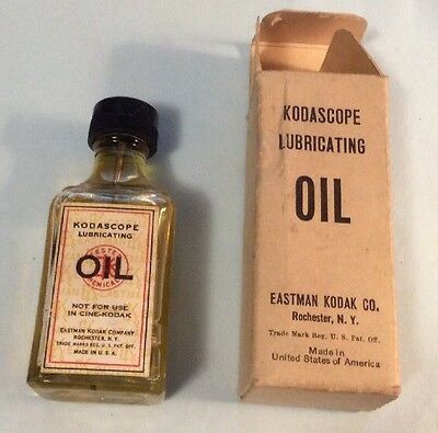 Vintage Eastman Kodak Kodascope Lubricating Oil Bottle & Box, Rochester NY