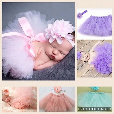 Baby Girls Newborn Tutu Skirt & Headband Outfit Set Photo Shoot Prop 0-6 Months