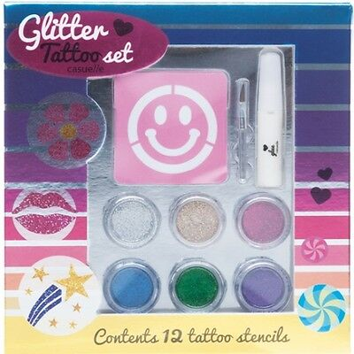 Super Girls Glitter TATTOO SET Glitzer Tattoo-Set 20 teilig (e972)