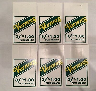 6 Vintage Vernors Advertising Bottle Hangers Inserts - Excellent- NOS