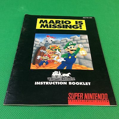 Super Nintendo SNES Mario is Missing! Only Instruction  # 3-412
