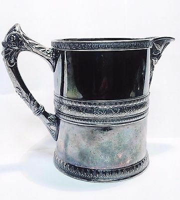 Antique Aesthetic Period Heavy Silver Plate Pitcher Roger Smith & Co New Haven
