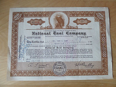 National Tool Company Stock Certificate issued Ohio 1954