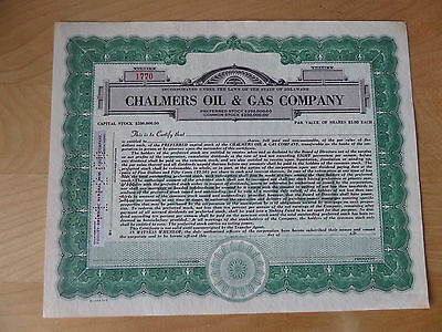 Chalmers Oil & Gas Co stock certificate unissued Delaware
