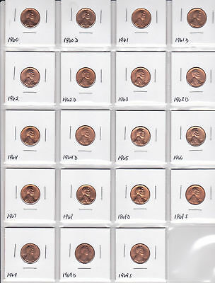 1960 - 1969 S Lincoln Memorial Pennies  Uncirculated  19 Pc Set #bn9443