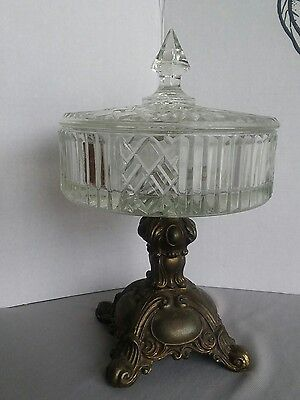 Vintage Fruit Candy Bowl Dish Clear Crystal Compote with Metal Base Stand