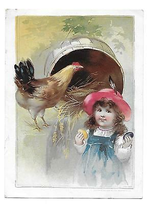 Victorian   Easter Woolson Spice Lion Coffee Trading Card Chicken Colored Eggs
