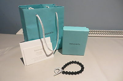 Tiffany Black Onyx Bead And Silver T-Bar Bracelet Unworn Boxed Free Uk P&p