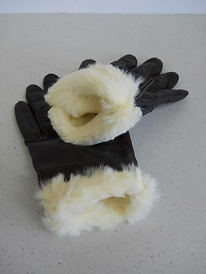 Vintage 1960s Women's Leather w Rabbit Fur Lining Gloves Florence Italy