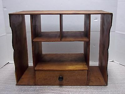 Antique Pigeon Hole Cubby, Wooden, Drawers, Mail, Bill Organizer, Desk Top