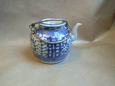 Teapot Chinese Blue & White Porcelain Ching Dynasty 19th century