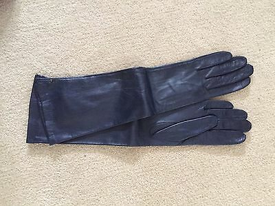 vintage gloves 7 new Leather silk lined Navy