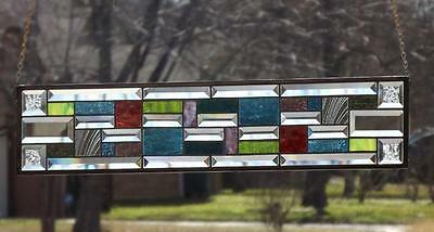 """•In LIVING Color•Beveled Stained Glass Window Panel • 28 ½""""x6 ½"""" (73-x16cm.)"""