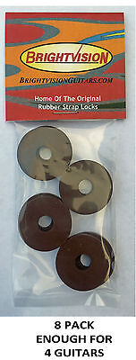 Eight BROWN Rubber Guitar Strap Locks - Grolsch Style - Classic and Reliable