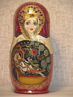 "10 dolls,Russian Matryoshka,by the author, height 9,4 "",gilding Potala, Palekh"