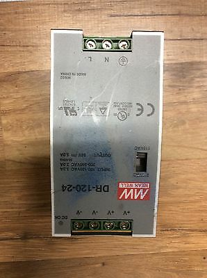 Mean Well DR-120-24 Power Supply 100-240 VAC Input 24 VDC 5.0 Amps Output