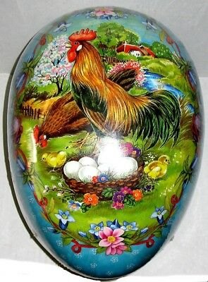 GIANT! EASTER EGG (13x9x9) ROOSTER GUARDING NEST Mint/Sealed German Made