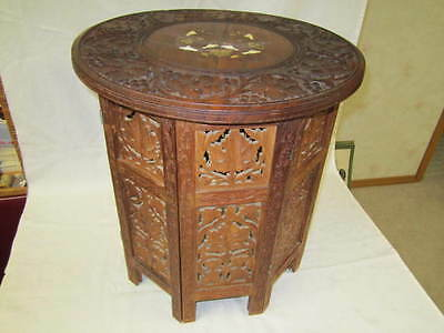 Vintage Indian Accent Side Table Hand Carved Teak Inlaid Round Top Octagon Base
