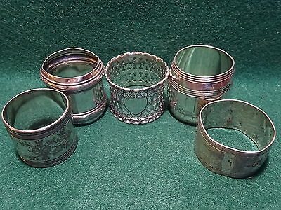 Five Antique Silver Plate Unengraved Napkin Rings Nr!