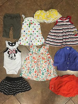 Lot Of 9 Baby Girl Clothes 6-9 Mo. Mixed Items