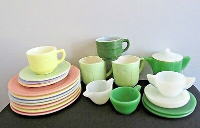 Hazel Atlas And Akro Agate ?  Childrens Dishes 22 Lot Plates Cups Sugar Creamer