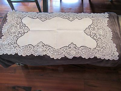 Antique Fine Linen and Lace Table Center or Dresser Scarf