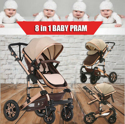8 in 1 Baby Travel Stroller Foldable Pram Jogger With Bassinet Baby Pushchair