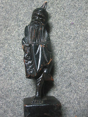"Antique Asian Smiling Fisherman Handcarved Wooden Statue  6"" Tall Chinese Figure"