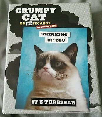 Funny Grumpy Cat 20 NOtecards - 5 Designs Each - New In Opened Box 2014