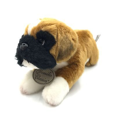 "Russ Yomiko Classics Boxer Dog 11"" Plush Stuffed Animal Brown Black Laying"