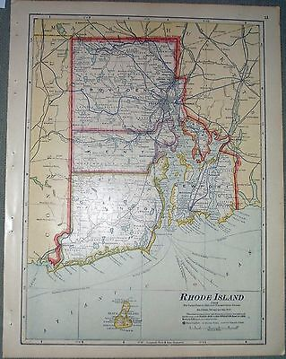1911 CRAM map of RHODE ISLAND and NEW HAMPSHIRE Atlas of the World