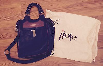 J'Tote Purple Leather Lge Laptop Padded Computer Messenger Bag Shoulder Stingray