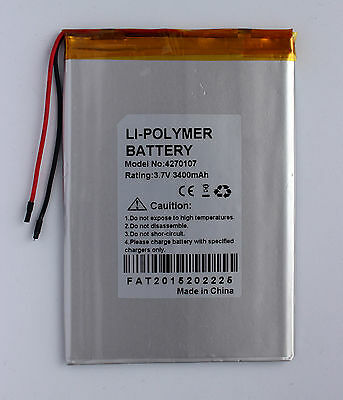3400 mAh / 3.7V Rechargeable Polymer Lithium Battery